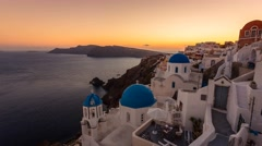 Sunset over Oia town on the Santorini Island, Greece Stock Footage