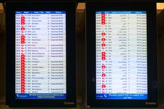 DUBAI, UAE - 16 JULY 2014: Digital schedule board announcing flight arrival t - stock photo