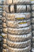 tacks of new packed tires - stock photo