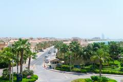 DUBAI, UAE - 16 JULY 2014: Luxury residential neighborhood on the Palm Jumeir - stock photo