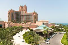 DUBAI, UAE - 16 JULY 2014: Atlantis, the Palm luxury hotel resort is located  Stock Photos