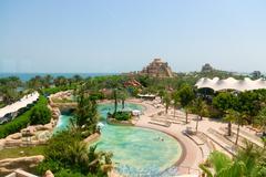 DUBAI, UAE - 16 JULY 2014: Beautiful water park at Atlantis, the Palm Luxury  Stock Photos