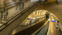 Time lapse of busy Paris metro station with people Stock Footage