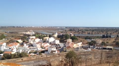 Overview for towns Castro Marim and Vila Real de Santo Antonio, in Algarve Po Stock Footage