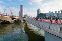 SINGAPORE - 07 AUG 2015: Tourists strolling along the newly constructed Jubil - stock photo