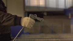 Painting steel with the underlying silver color Stock Footage
