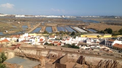 Overview for the salt pans of Castro Marim in Algarve and Ayamonte town in th - stock footage