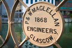 SINGAPORE - 07 AUG 2015: Steel manufacturers plate on the historic Cavenagh B Stock Photos