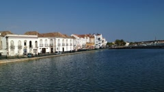 TAVIRA, PORTUGAL- SEPTEMBER 28, 2015: Overview for the houses of one of the o Stock Footage