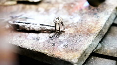 Master jeweler solder frame for a stone close up HD - stock footage