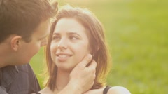 Affectionate romantic charming couple, looking lovingly into sweethearts eyes Stock Footage