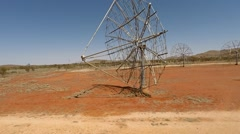 Aerial view of a old solar power station site in outback Australia Stock Footage