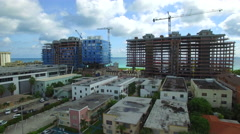 Oceanfront construction Miami Beach aerial video Stock Footage