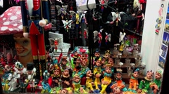 Stock Video Footage of Souvenir shop, bazaar in Budapest.  4K.