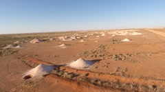 Aerial view over the coober pedy mines in outback south australia Stock Footage