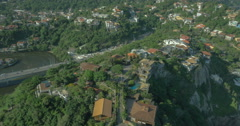 Flying above houses on the slopes, Rio De Janeiro Stock Footage
