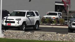 Pan Of Toyota Trucks In A Dealership Stock Footage