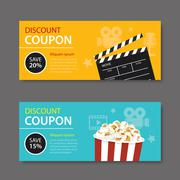 Movie coupon flat design Stock Illustration