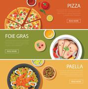 Stock Illustration of popular food web banner flat design, pizza, foie gras, paella