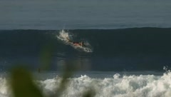 Surfer getting tricky tube Stock Footage