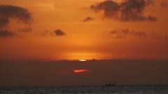 Big orange ball time-lapse sunset Stock Footage
