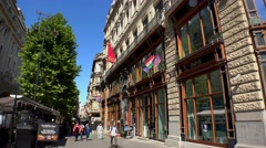 Vaci utca street in Budapest. 4K. Stock Footage