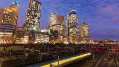 4k timelapes video of railway and modern buildings in a city Stock Footage