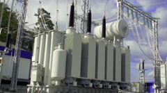Industrial high-voltage substation power transformer at the power plant Stock Footage