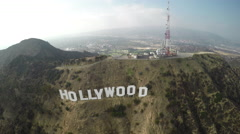 Hollywood Sign Wide Shot Pull Back Stock Footage