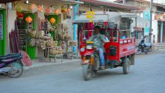 Motor tricycle passenger vehicle in Nyaung Shwe, Myanmar Stock Footage