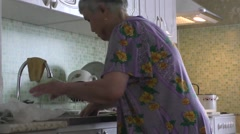 The elderly woman washes a green onions Stock Footage