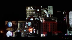 "International Festival ""Circle of Light"". Laser video mapping show Stock Footage"