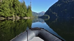 POV boat ride cruising through glassy waters in Fords Terror in Tracy Arm-Fords Stock Footage