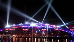 "International Festival ""Circle of Light"". Laser video show on the bridge Stock Footage"