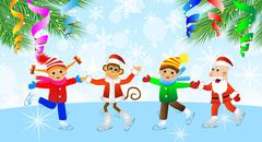 Cheerful children, the grandfather a frost and the monkey on skates Stock Illustration