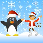 Monkey with a penguin Stock Illustration