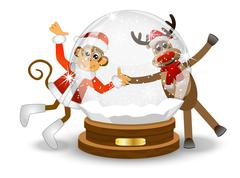 Monkey and deer looking through the glass festive ball Stock Illustration