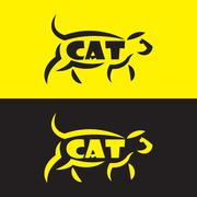 Vector image of an cat design on black background and yellow background, Logo Piirros
