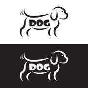 Vector image of an dog design on black background and white background, Logo, - stock illustration
