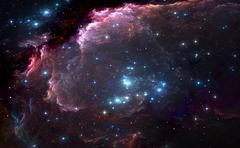 Group of bright blue massive stars in the nebula Stock Illustration