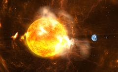 Giant Solar Flares. Sun producing super-storms and massive radiation bursts Stock Illustration