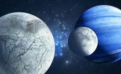 An Earthlike moon and icy moon orbiting a gas giant host planet Stock Illustration