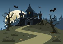 Halloween haunted castle, trees, bats, and a full moon. Vector illustration - stock illustration