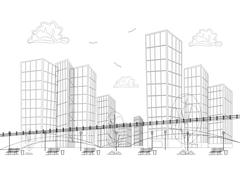 Black and white design big modern city with skyscrapers - stock illustration