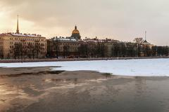 Views of the River Neva and Winter streets of St. Petersburg Stock Photos