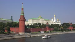 The Kremlin (in 4k) viewed from the Moskva River, Moscow, Russia. Stock Footage
