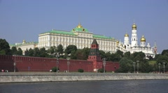 The Grand Palace Kremlin (in 4k) viewed from the Moskva River, Moscow, Russia. Stock Footage