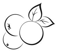 Apples with Leaves Black Pictogram - stock illustration