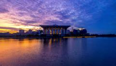 Epic Sunrise At Iron Mosque, Putrajaya. Stock Footage
