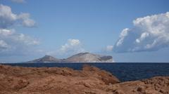 Tavolara island coast, Sardinia. - stock footage